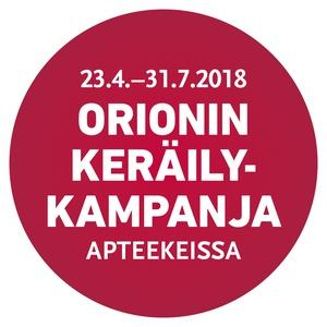 Orionin keräilykampanja 23.4. - 31.7.2018