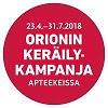 Orionin keräilykampanja 29.10.18 - 31.1.2019