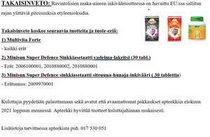 TAKAISINVETO: Super Defence Sinkkiasetaatti ja Multivita Forte