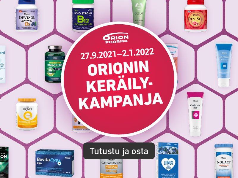 Syksyn keräilykampanja alkaa, Orionin tuotteita laajasti