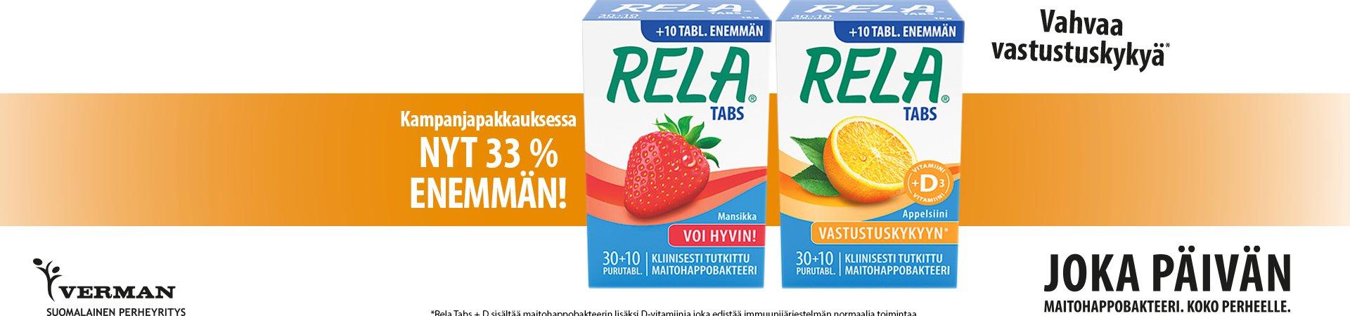 Rela tabs 10 tablettia kaupan päälle