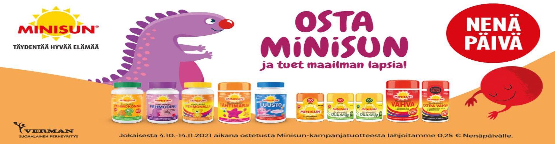 Minisun -tuotteista 0,25€ Nenäpäivä -keräykseen