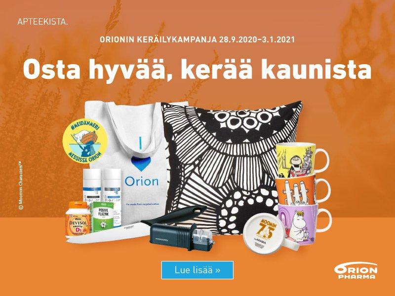 Orion Pharma keräilykampanja tammikuulle saakka