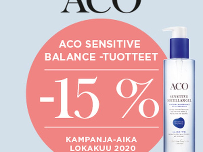 Aco sensitive balance -15% lokakuussa