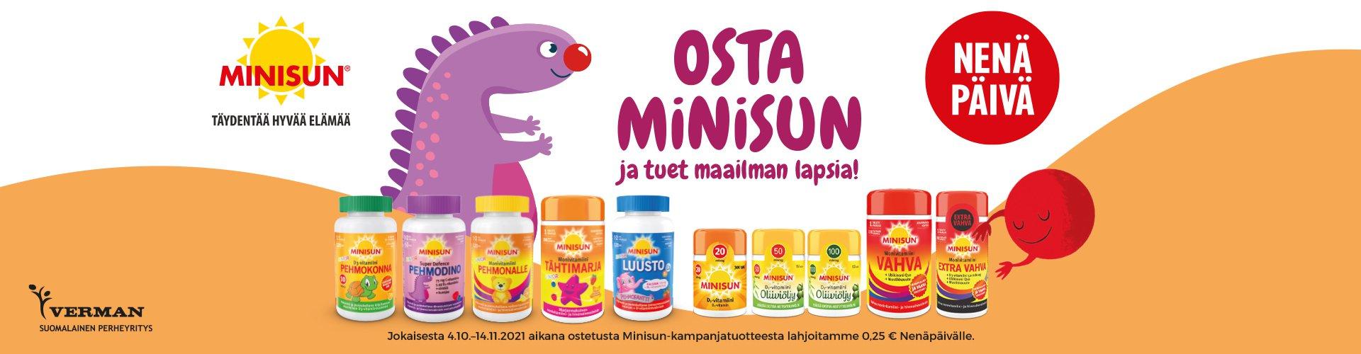 Jokaisesta 4.10.-14.11.2021 aikana ostetusta Minisun-kampanja tuotteesta Verman lahjoittaa 0,25€ Nenäpäivälle.