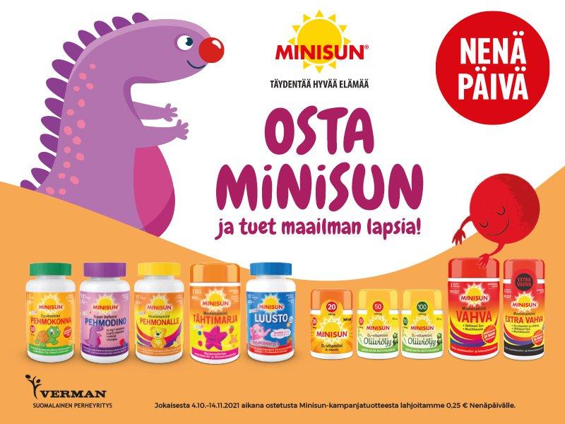 Jokaisesta 4.10.-14.11.2021 aikana ostetusta Minisun-kampanjatuotteesta Verman lahjoittaa 0,25€ Nenäpäivälle.