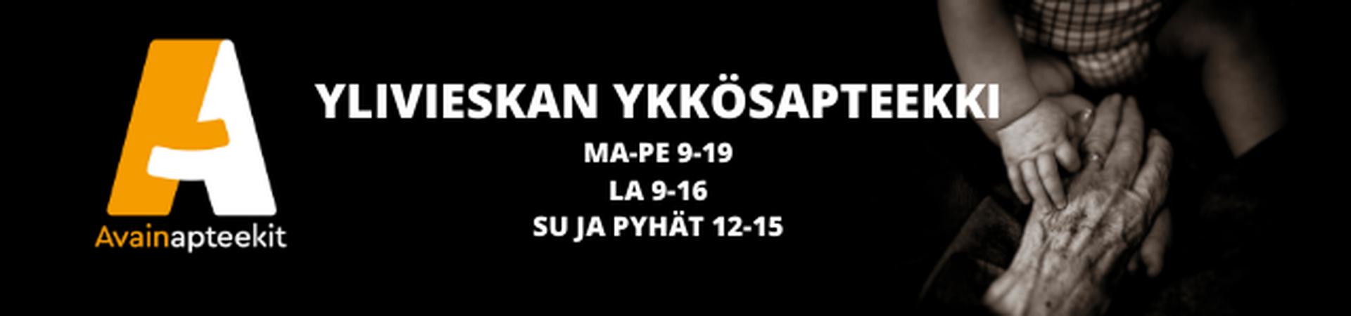 Ylivieskan Ykkösapteekki ma-pe 9-20, la 9-16, su ja pyhät 12-15