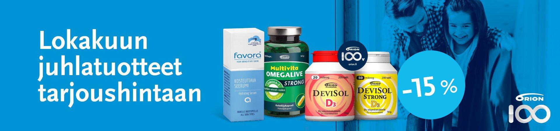 Orion, alennus, vitamiini, omega, seerumi, favora, tarjous