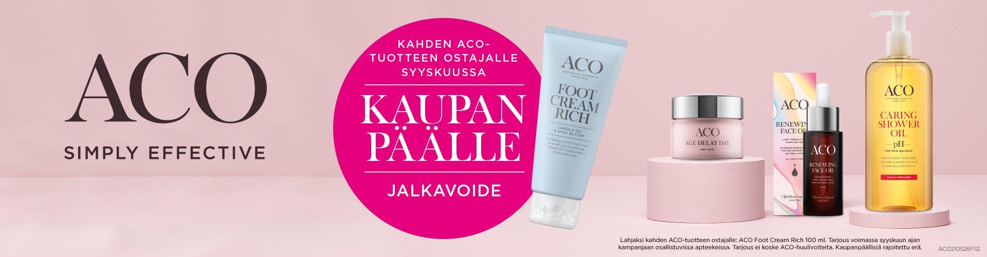 Kahden ACO-tuotteen ostajalle kaupan päälle ACO Foot Cream Rich -jalkavoide