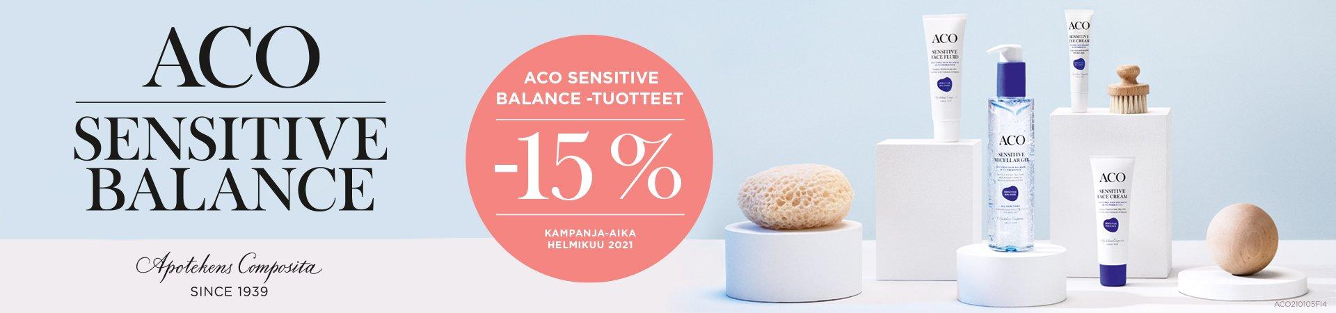 Aco Sensitive Balance tuotteet -15% helmikuun ajan!