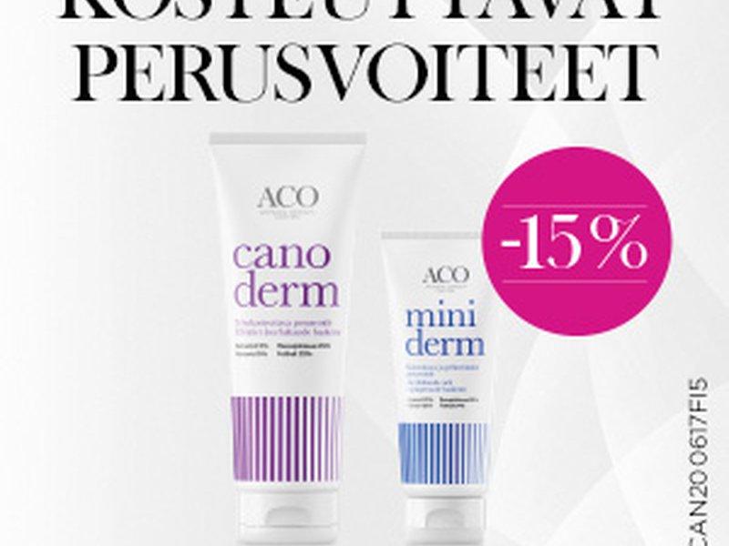 Aco Canoderm ja Miniderm perusvoiteet -15% helmikuun ajan!