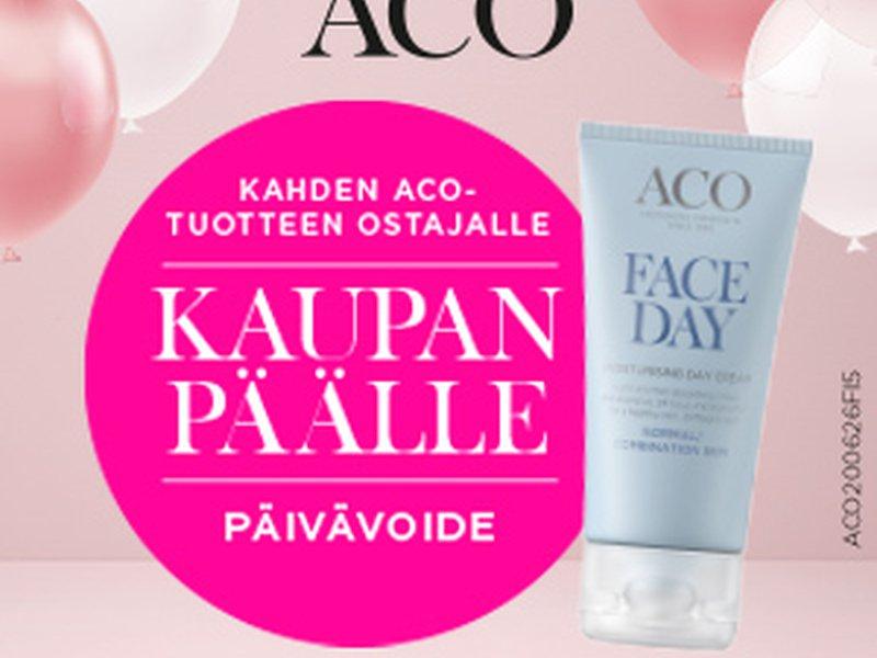 Aco Party syyskuussa! Kahden tuotteen ostajalle päivävoide kaupan päälle!
