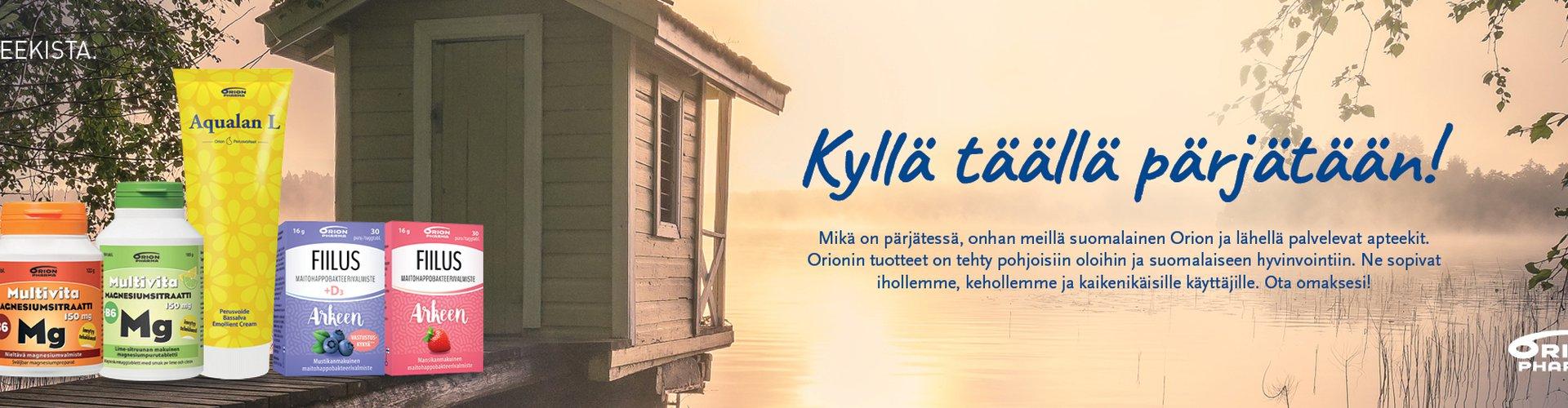 Kyllä täällä pärjätään!   Mikä on pärjätessä, onhan meillä suomalainen Orion ja lähellä palvelevat apteekit.