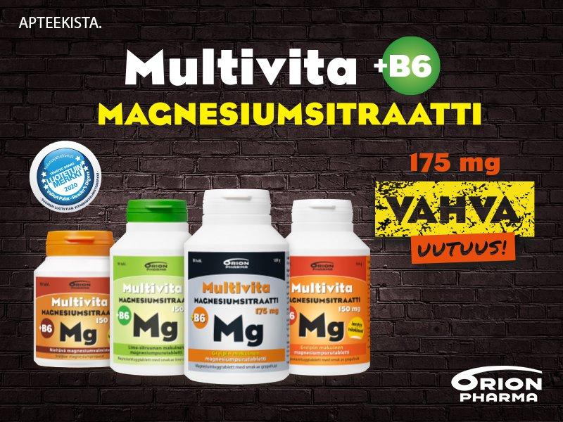Multivita magnesium - nyt myös vahva 175mg!