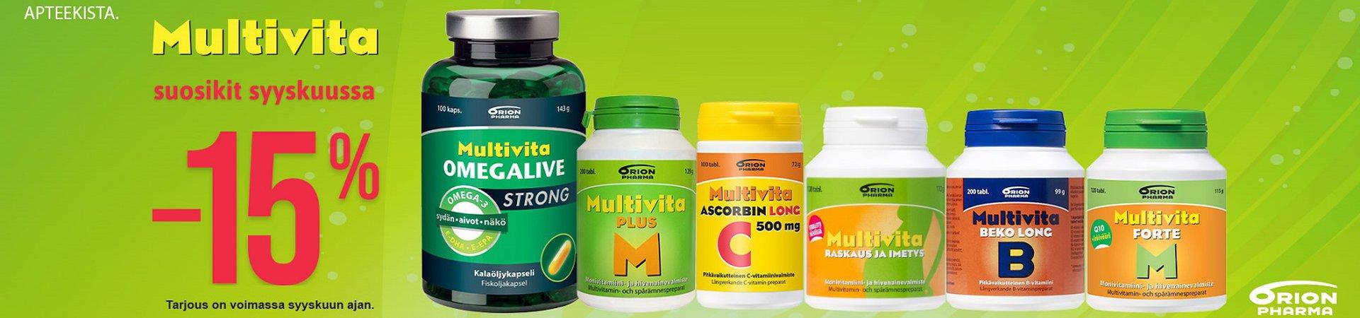 Syyskuussa Multivita suosikit -15% !