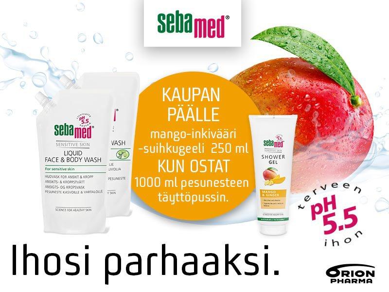 Sebamed pesuneste face & body sekä Olive 1000 ml täyttöpussin ostajalle Sebamed suihkugeeli mango & inkivääri 250 ml kaupan päälle!