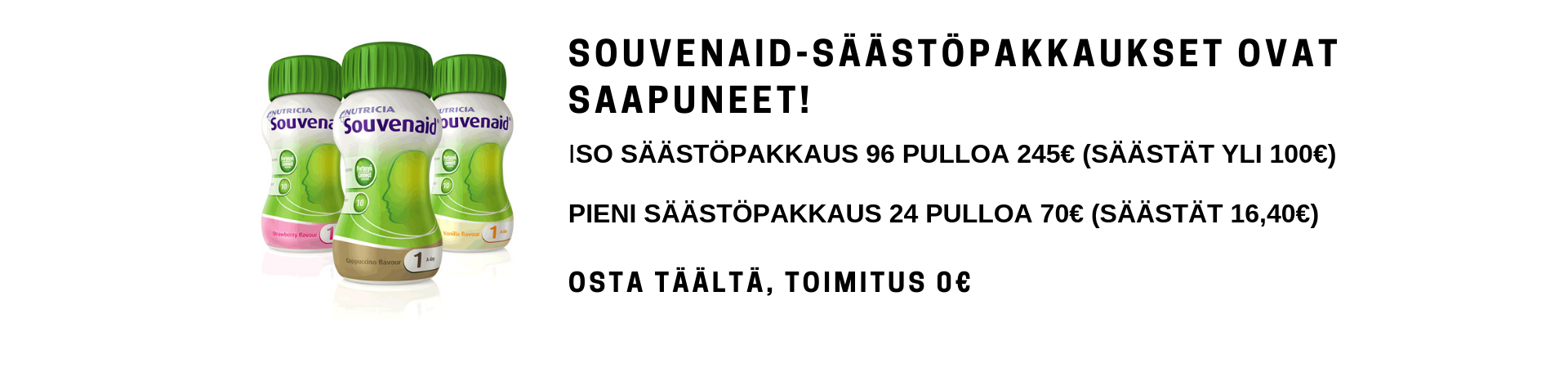Souvenaid-tarjous, säästä yli 100€. 96 pulloa vain 245€