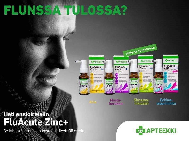 Flunssa sinkkisuihke FluacuteZinc Apteekki flunssaa helpottamaan