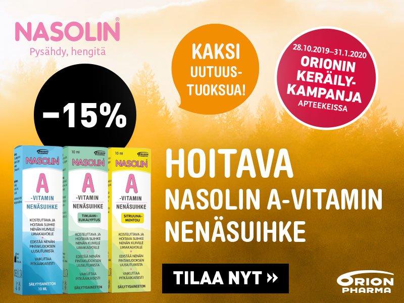 Nasolin A-vitamin nenäsuihkeet -15 % marraskuussa