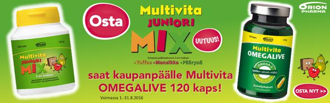 Multivita Juniori Mix ostajalle Multivita Omegalive kaupanpäälle