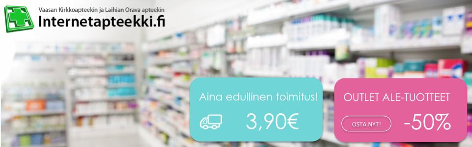 Internetapteekki, toimituskulut 3,90€, Outlet Ale-tuotteet jopa -50%