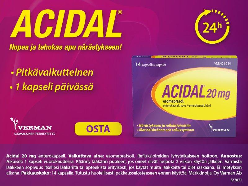 Acidal närästys vatsahappo refluksi