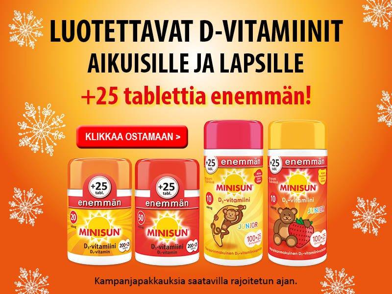 Minisun D-vitamiineja +25 tabl. helmikuu