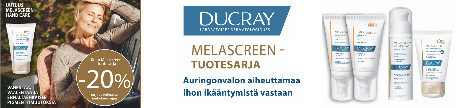 Ducray Melascreen tarjous toukokuu 2020