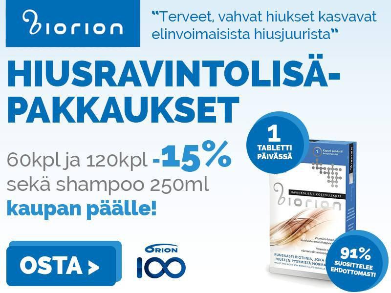 Biorion hiusravintolisät 60 ja 120 kpl -15 %. Kaupanpäälle shampoo 250 ml