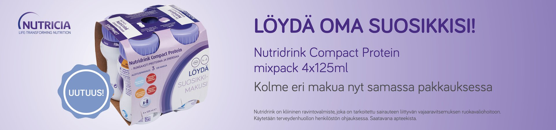 uutuus nutridrink compact protein mixpack