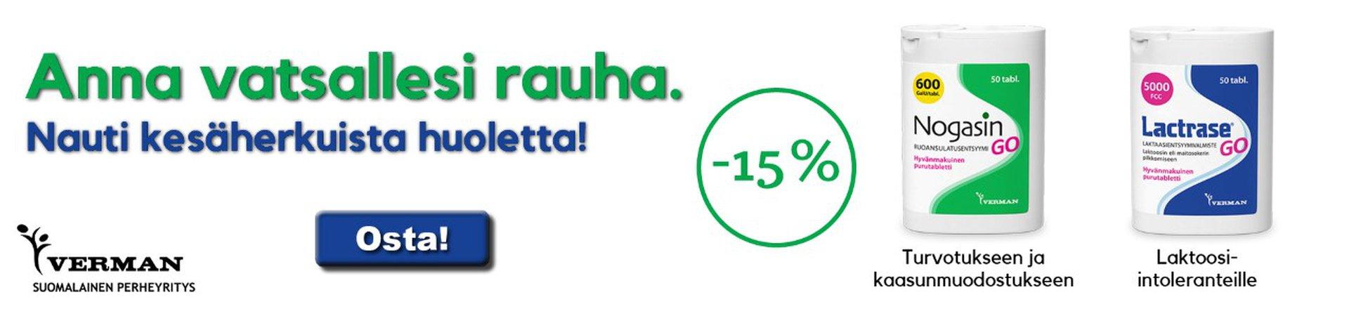 Nogasin Go ja Lactrase Go -15 % heinäkuussa