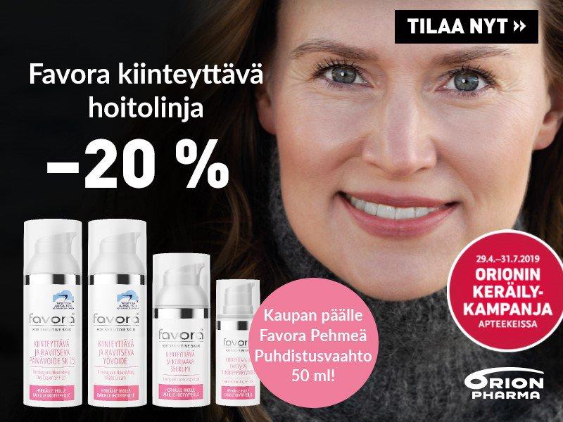 Favora kiinteyttävät ihonhoitotuotteet -20 % ja kaupan päälle Favora puhdistusvaahto 50 ml