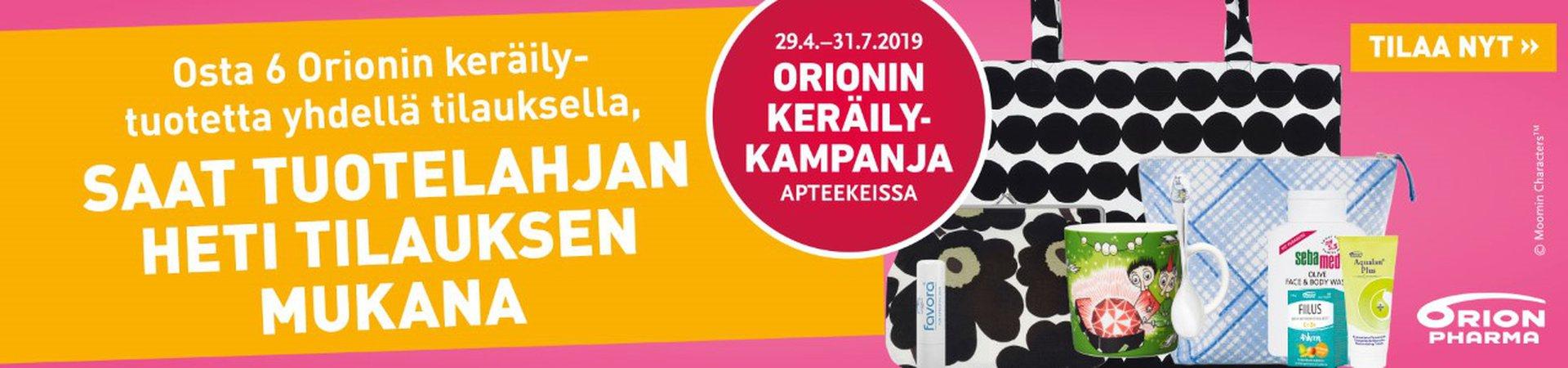 Orionin keräilykampanja - kevät/kesä 2019