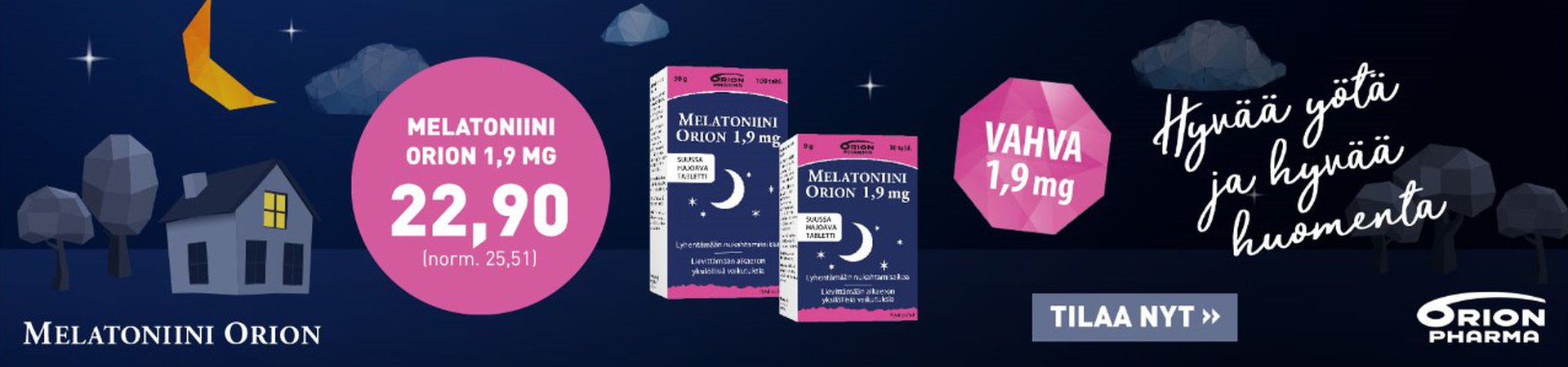 Melatoniini Orion 1,9 mg elokuu