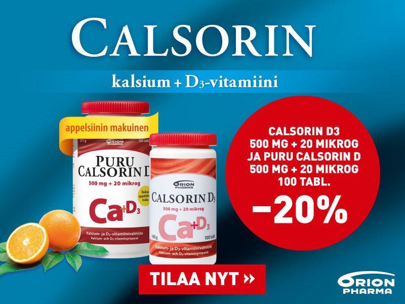 Calsorin -20 % elokuu