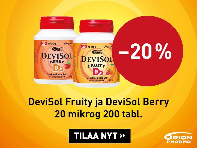 Devisol D3 20 mikrog. Fruity ja Berry -20 % syyskuu