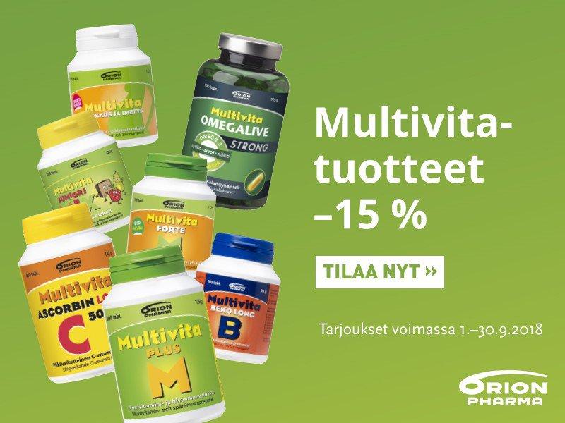 Multivita vitamiineja -15 % syyskuussa