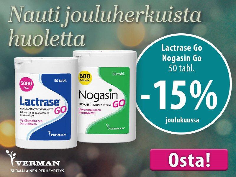 Lactrase go ja Nogasin go joulukuussa -15%