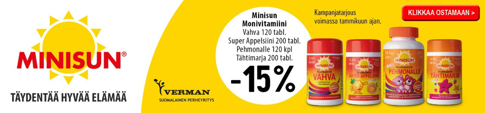Minisun monivitamiineja -15 % tammikuussa