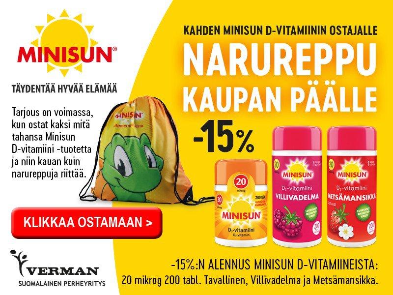 Minisun D-vitaamiinit 20 mikrog. helmikuussa 20 -15% Kassi kaupan päälle