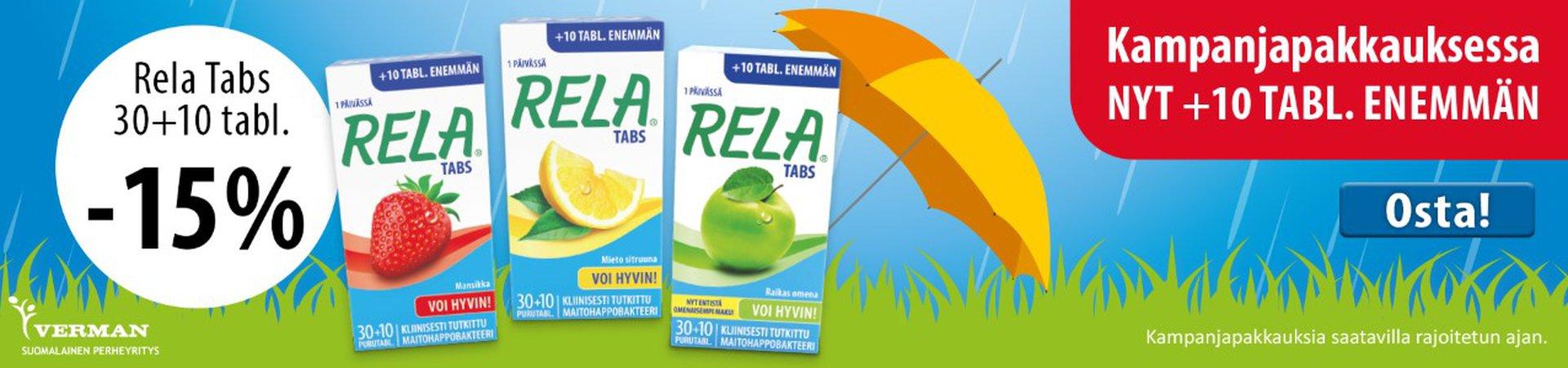 Rela Tabs 30 + 10 huhtikuu 2019