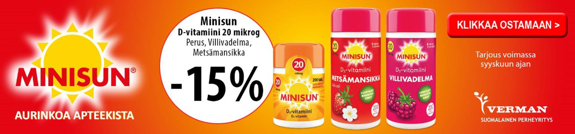 Minisun D3 20 mikrog. 200 tabl. vadelma, metsämansikka ja niltävä -15 % syyskuu19