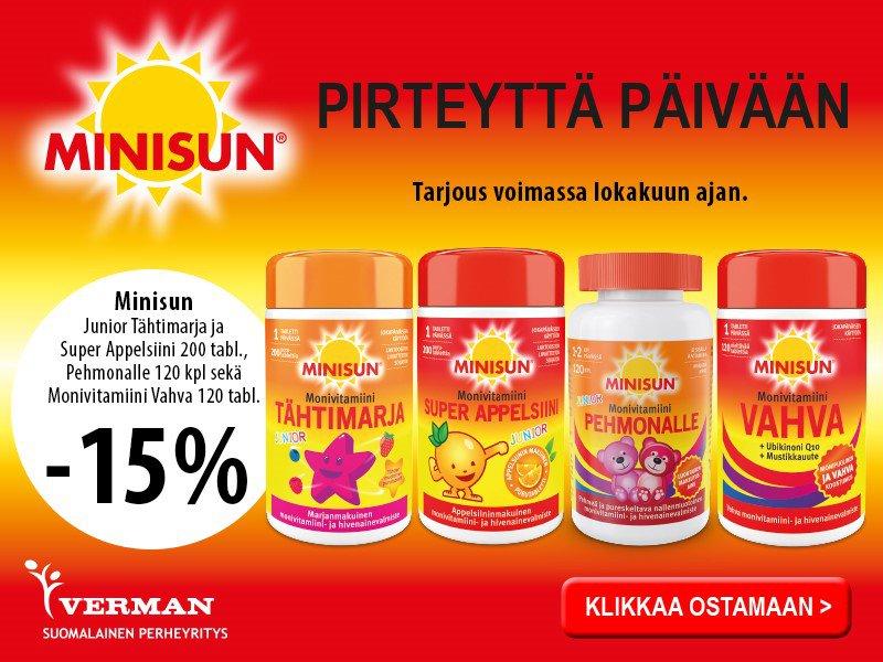 Minisun vitamiineja -15 % lokakuussa