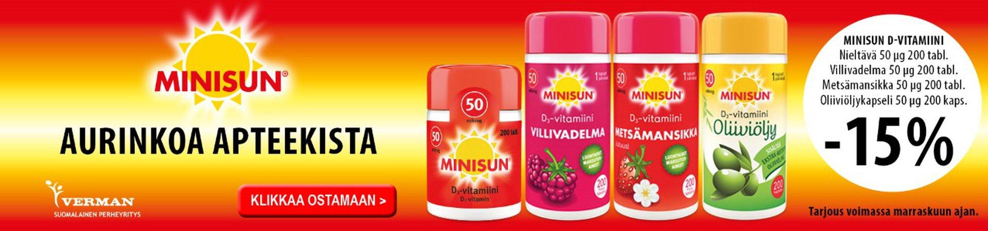 Minisun D 50 mikrog -15 % marraskuussa