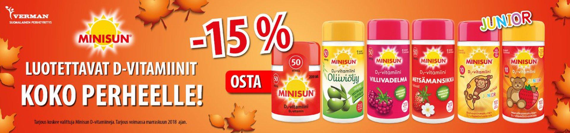 Minisun D-vitamiineja -15 % marraskuussa