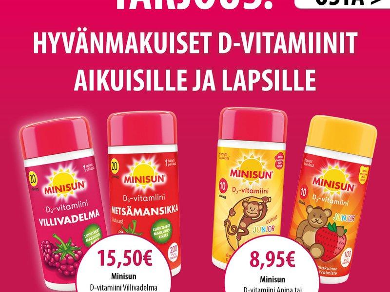 Minisun D-vitamiinit aikuisille ja lapsille