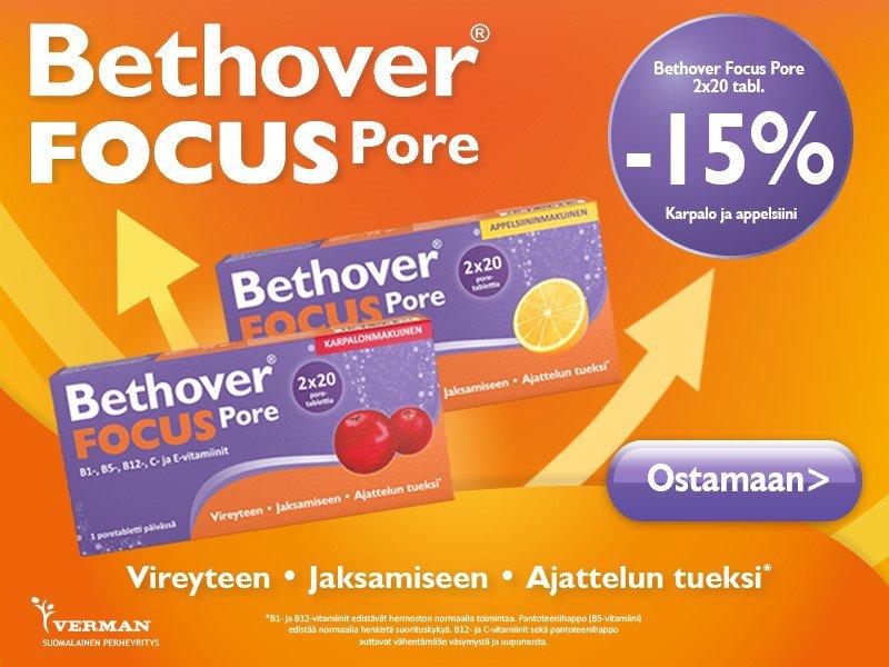 Bethover focus 40 tabl. tammikuussa -15 %