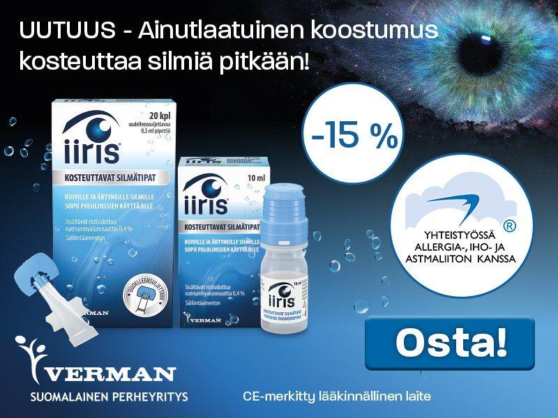 Iiris kosteuttavat silmätipat -15 % kesäkuussa