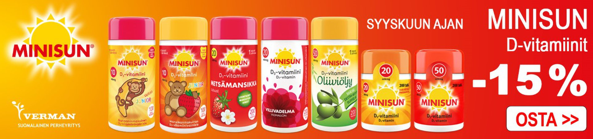Minisun D-vitamiineja -15 %