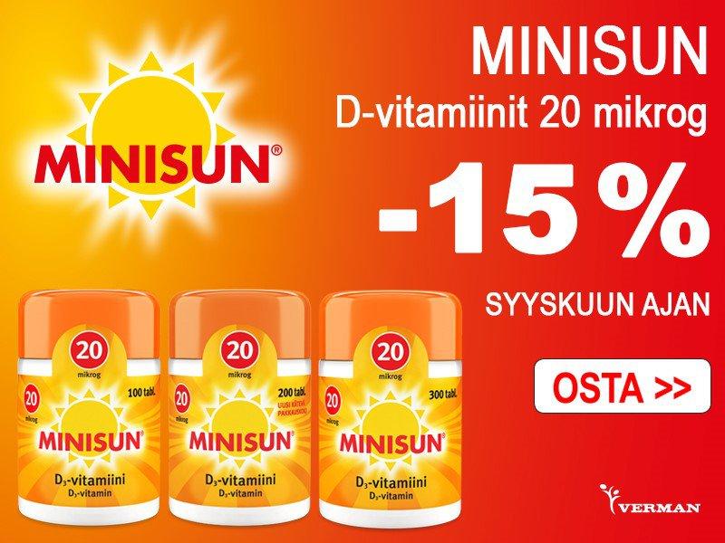 Minisun d-vitamiinit 20 mikrog -15 %